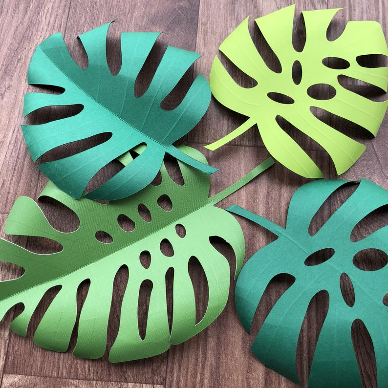 Monstera leaf template, Tropical leaf backdrop template, Paper flower leaf SVG,PDF, DFX files for cricut and silhoutte cutting machine.