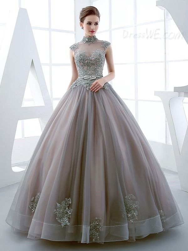 Buy Vintage Luxurious High Neck Applique Beaded Ball Quinceanera