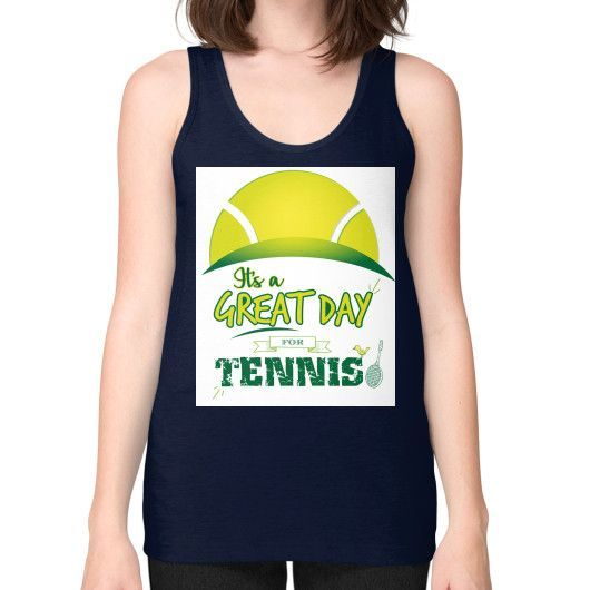 It's a Great Day For Tennis Unisex Fine Jersey Tank (on woman)