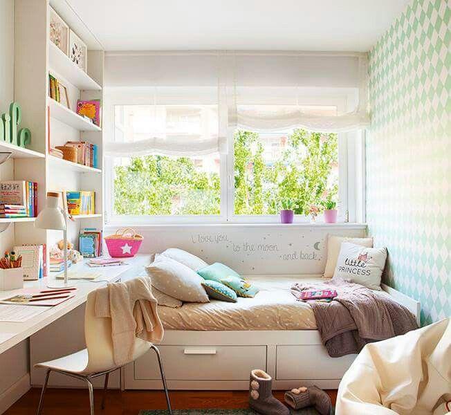 Dormitorio estudiante cama brimnes ikea estanter a mesa - Dormitorio nina ikea ...