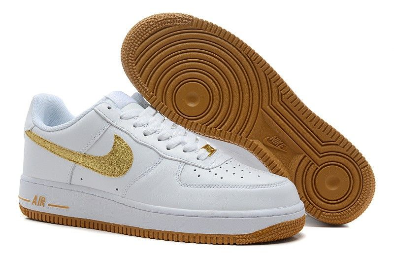 hot sales c5c55 d5bdf Nike Air Force 1 White Brown With Gold Swoosh