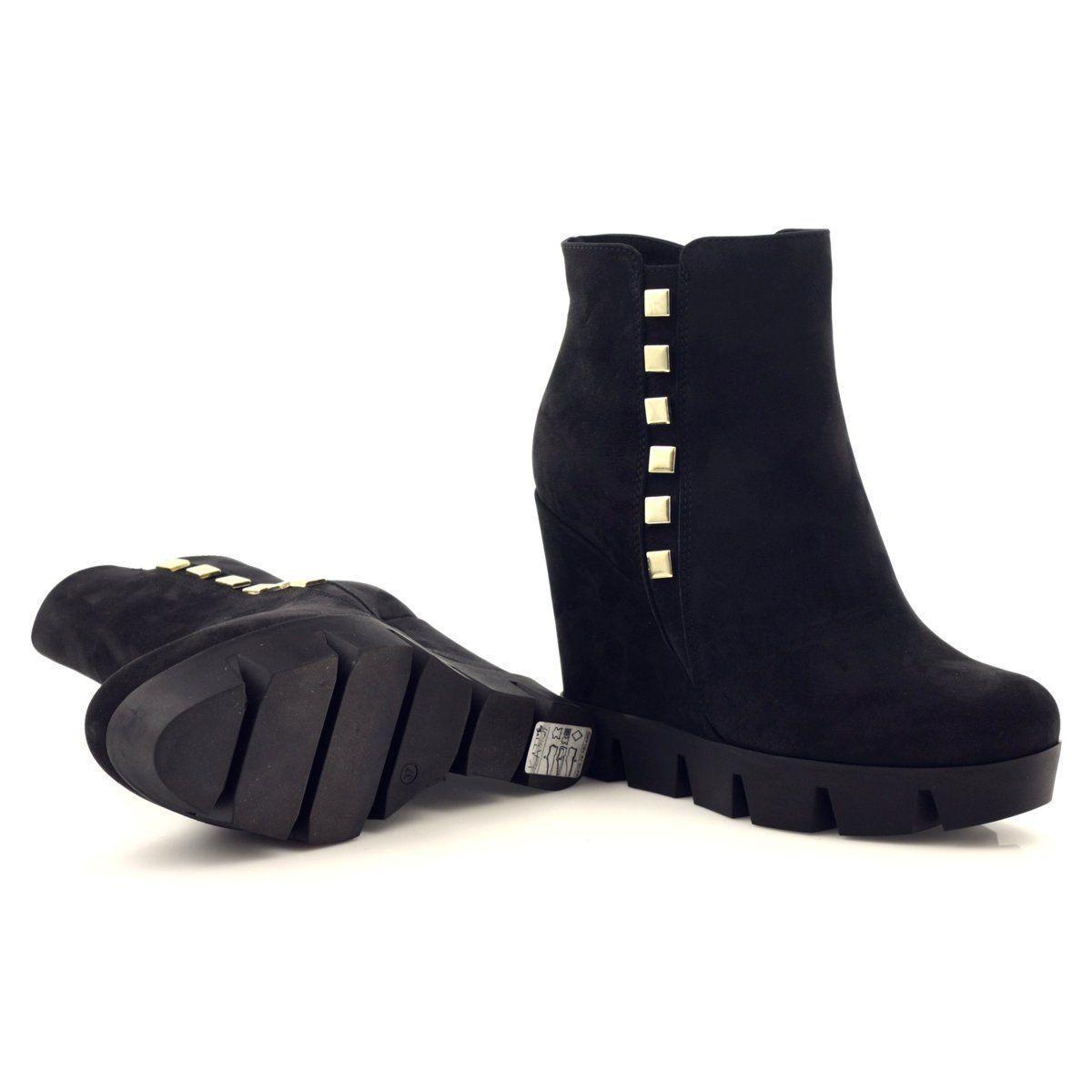 Botki Buty Damskie Zimowe Na Koturnie Kati Czarne Boots Rain Boots Shoes