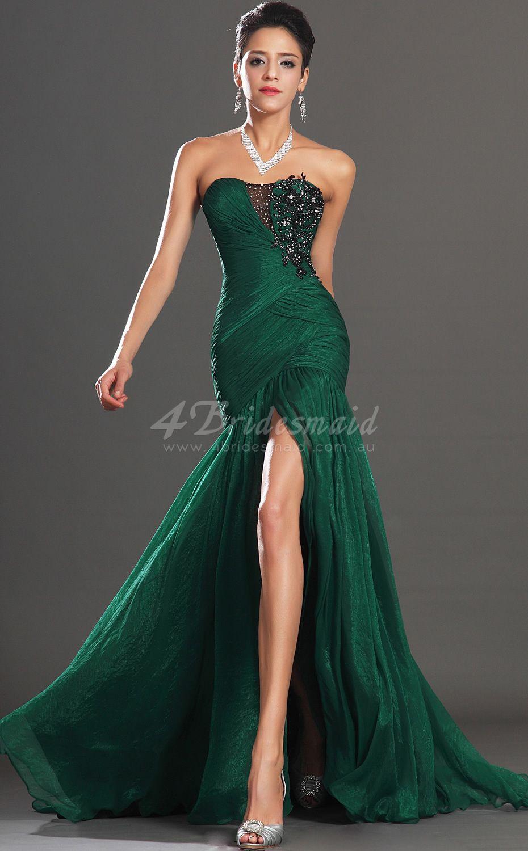 Mermaid sweetheart long dark green velvet chiffon prom dressesbd