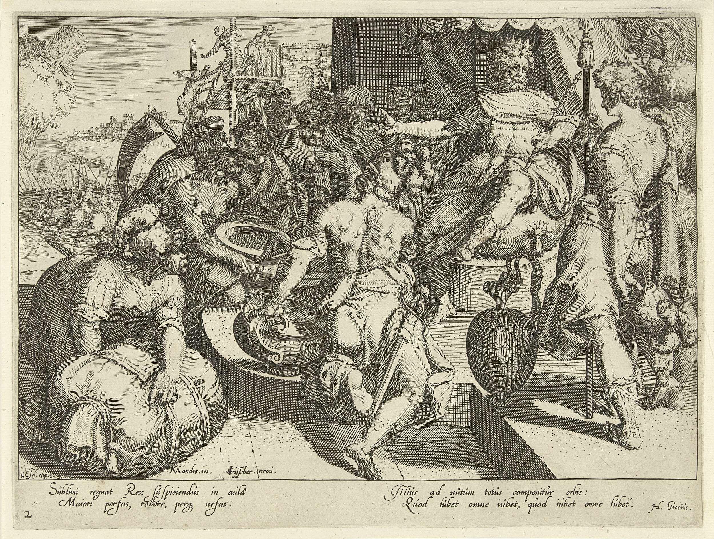 Zacharias Dolendo | De koning als sterkste in de wereld, Zacharias Dolendo, Claes Jansz. Visscher (II), Hugo de Groot, 1595 - 1596 | Verschillende personen brengen hun schatten naar de koning die op zijn troon zit. Twee mannen dragen grote vazen met munten, een andere man brengt een baal dure stoffen. Op de achtergrond wordt een nieuw paleis gebouwd en trekt een leger ten strijde. Voorstelling uit het boek 3 Ezra 3-4.