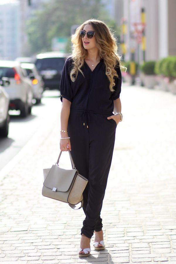 Perfect jumpsuit from H&M, Celine Trapeze bag, Tommy Hilfiger sandals, Dolce & Gabbana sunglasses