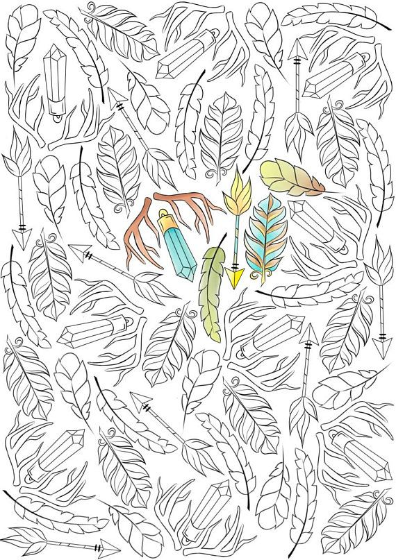 Adult Coloring Page Boho Feathers Ethnic Nature