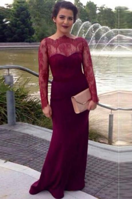 Long Sleeve Burgundy Bridesmaid Dress Floor Length Mermaid Dresses Elegant