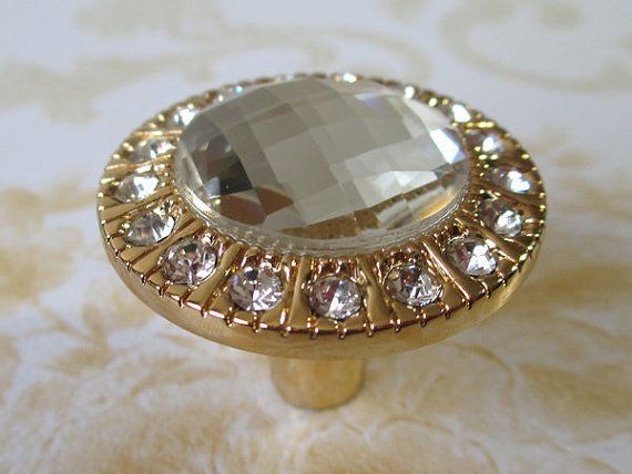 Gold Glass Dresser Knobs / Crystal Drawer Knobs Pulls Handles Sparkle Clear  Diamond / Cabinet Knobs