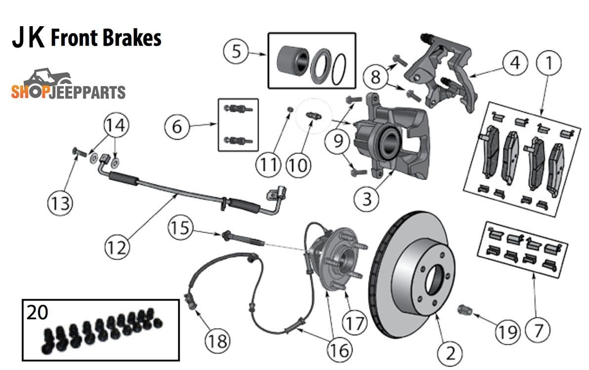 2007-2018 Jeep JK Wrangler Front Brake Parts Diagram
