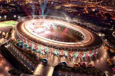 Download Olympic Stadium Night View Wallpaper for Mobiles and Tablets.