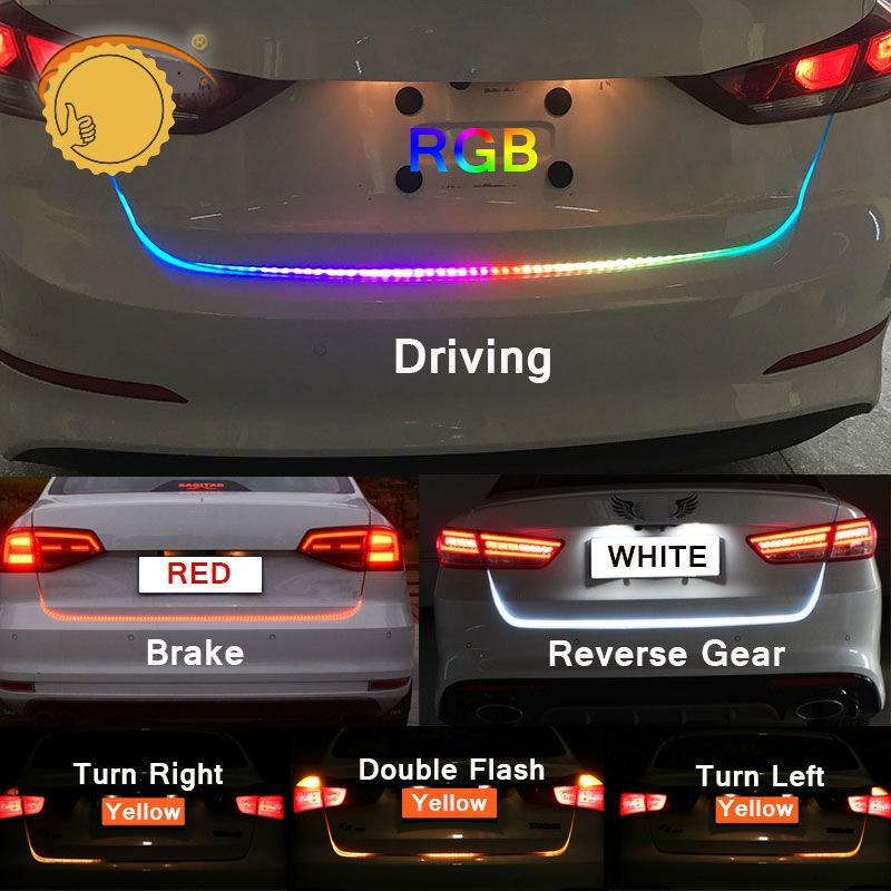 47 6 Inch Rgb Colorful Flowing Led Trunk Strip For Car Trunk