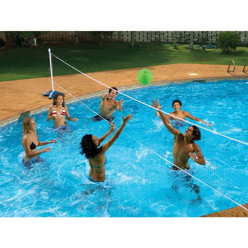 Poolmaster Across Swimming Pool Volleyball Game 72789 The Home Depot In 2020 Pool Volleyball Net Pool Basketball Volleyball Set