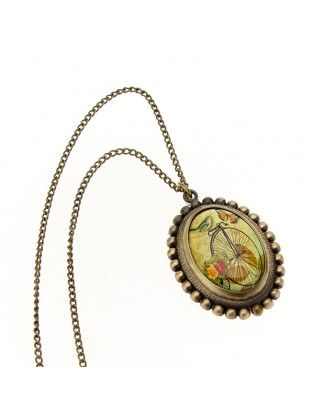Vintage Bronze Butterfly Oval Chain Pocket Watch