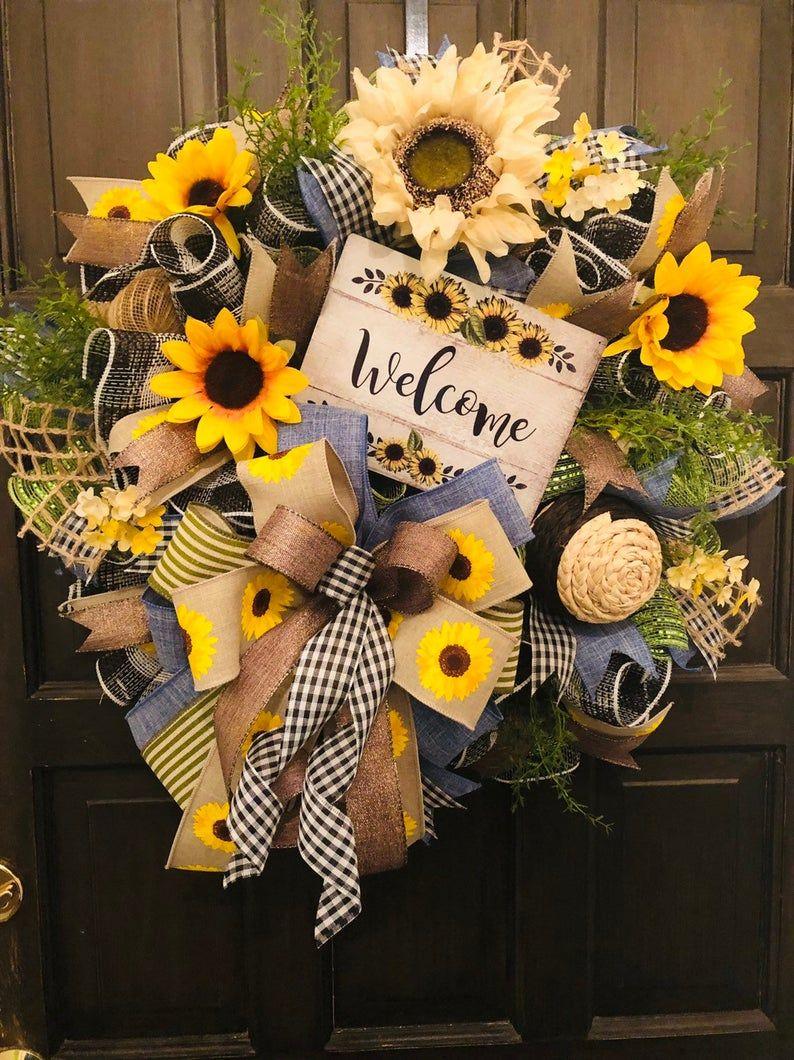 Photo of Welcome Wreath, Sunflower Wreath, Fall Wreath, Deco Mesh Wreath, Everyday Wreath, Fall, Front Door Decor