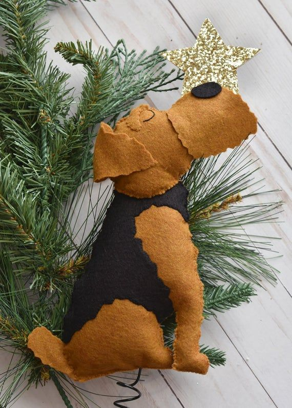 Custom Handmade Felt Dog Christmas Tree Topper Christmas