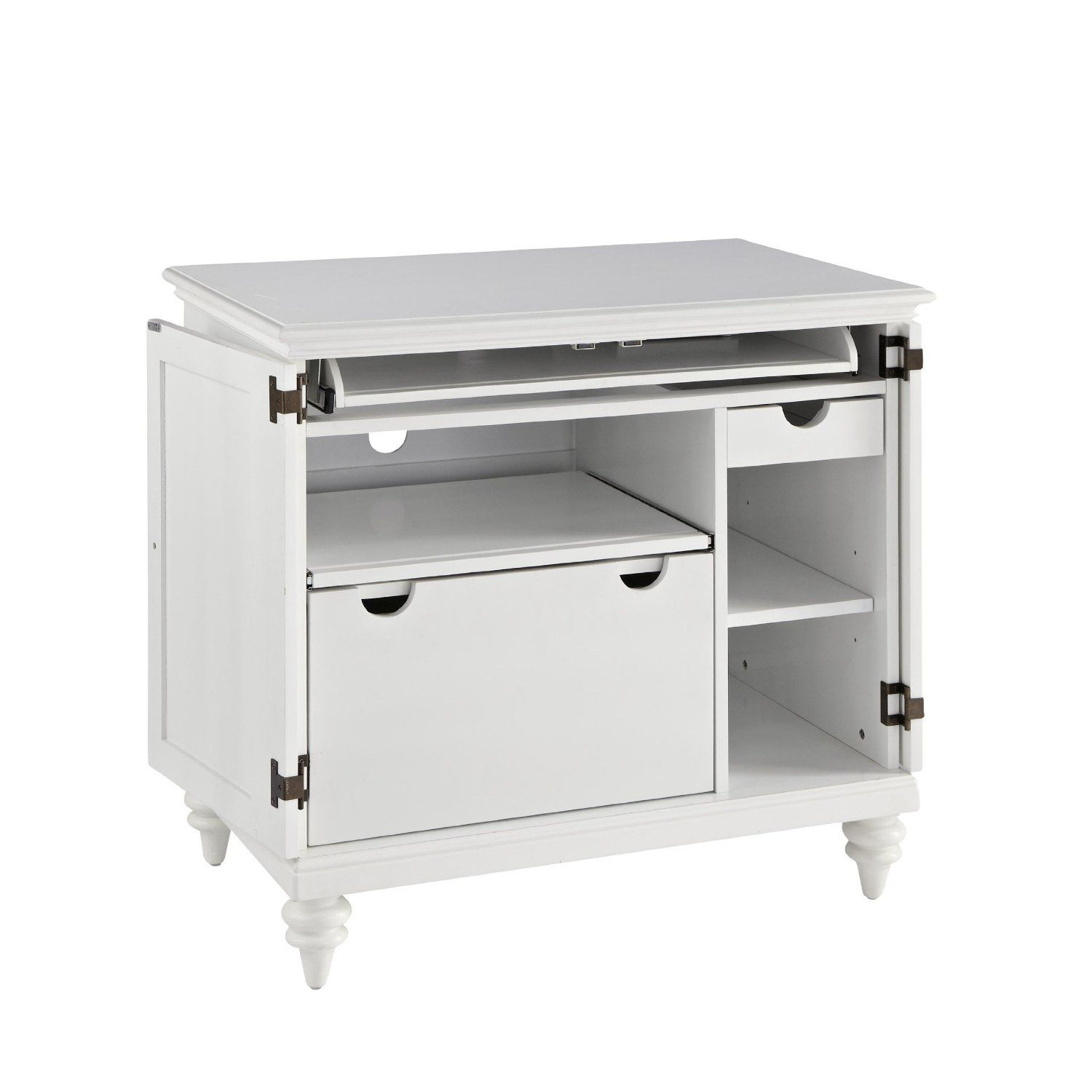 Amazon.com   Home Styles 5543 19 Bermuda Compact Computer Cabinet, Brushed  White