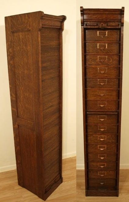 Globe Wernicke Oak Filing Cabinet With Tambour Front Interior Has 15 Drawers A Pull Out Shelf Below The 7th Drawer