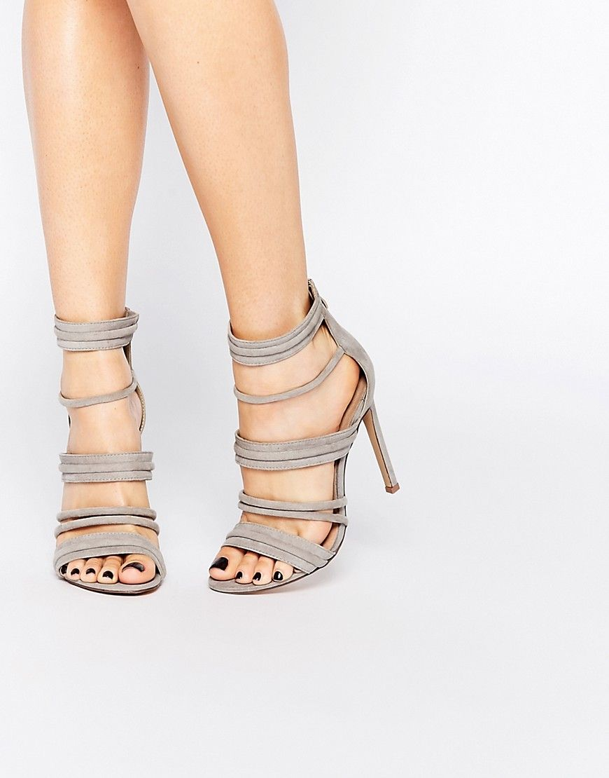 781213d02463a Image 1 of Lost Ink Rally Gray Strappy Heeled Sandals Zapatos