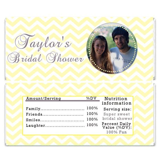 Printable Personalized Bridal Shower Candy Bar Wrappers - Yellow Chevron Party Candy Bar Wrap Bridal Shower Decorations Bridal Shower Favors