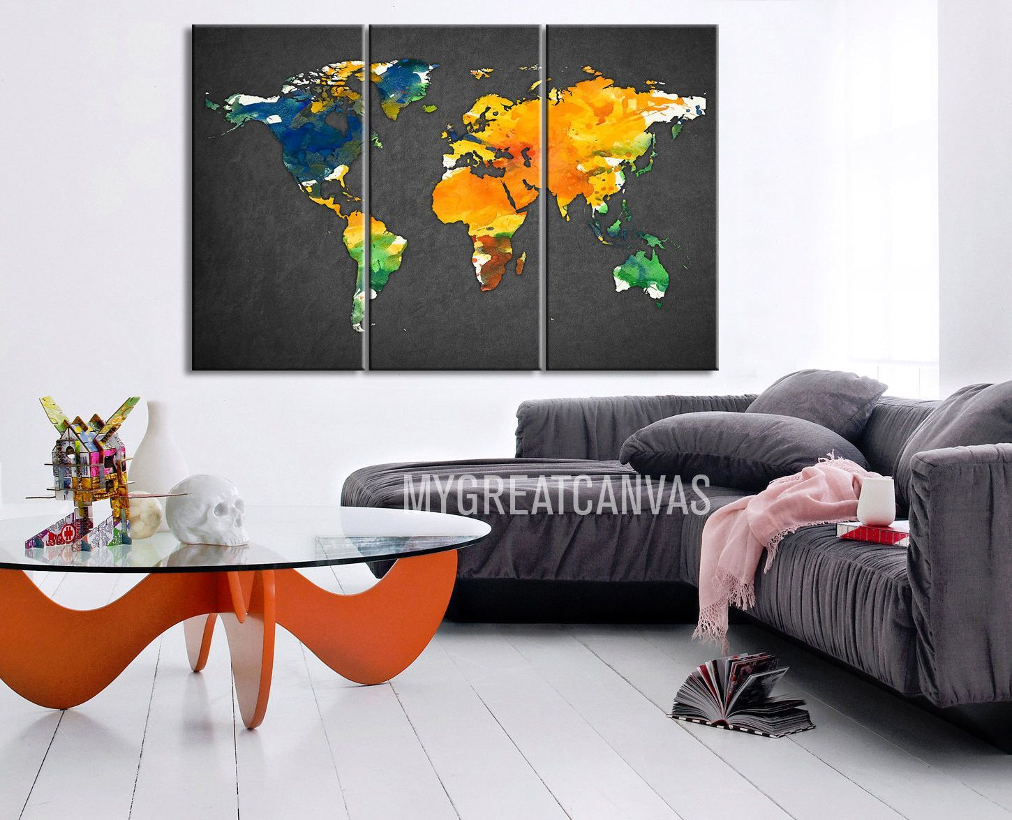 Large Wall Art Canvas Print Colorful WORLD MAP Gray Background - World map canvas grey