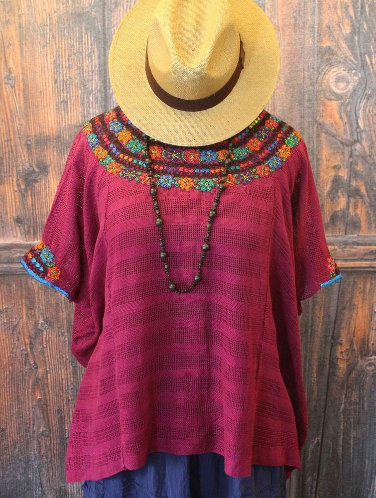 Heavily hand embroidered yoke coban guatemala maroon
