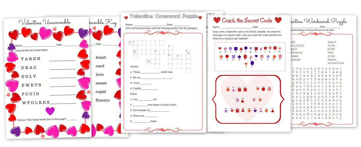 Free Valentine\'s Day Printable Puzzle Pack Word search, Code ...