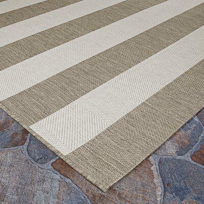 Beachcrest Home Gallinas Striped Flatweave Tan Ivory