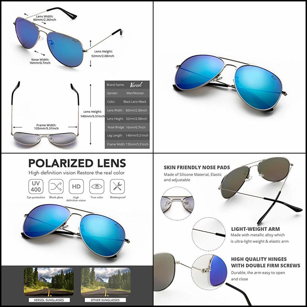 c5ca3a9018 Sunglasses For Men Women Polarized UV 400 Protection Classic Aviator Style  60mm  fashion  clothing  shoes  accessories  mensaccessories ...