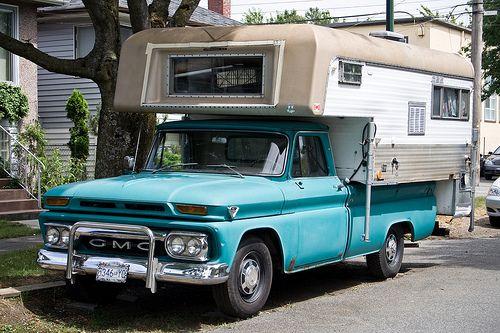 Vintage GMC Truck Cab Over Camper