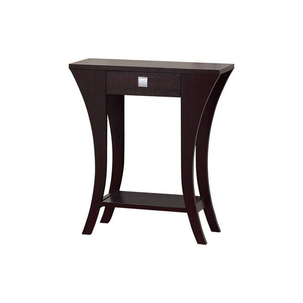 Stylish Console Table Dark Chocolate Benzara Console Table Living Room Sofa Tables Living Room Entry Table With Drawers