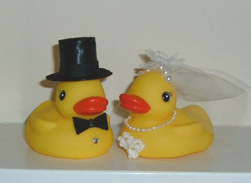 RUBBER DUCKY Duckies Wedding Cake Toppers Bride Groom Customize ...