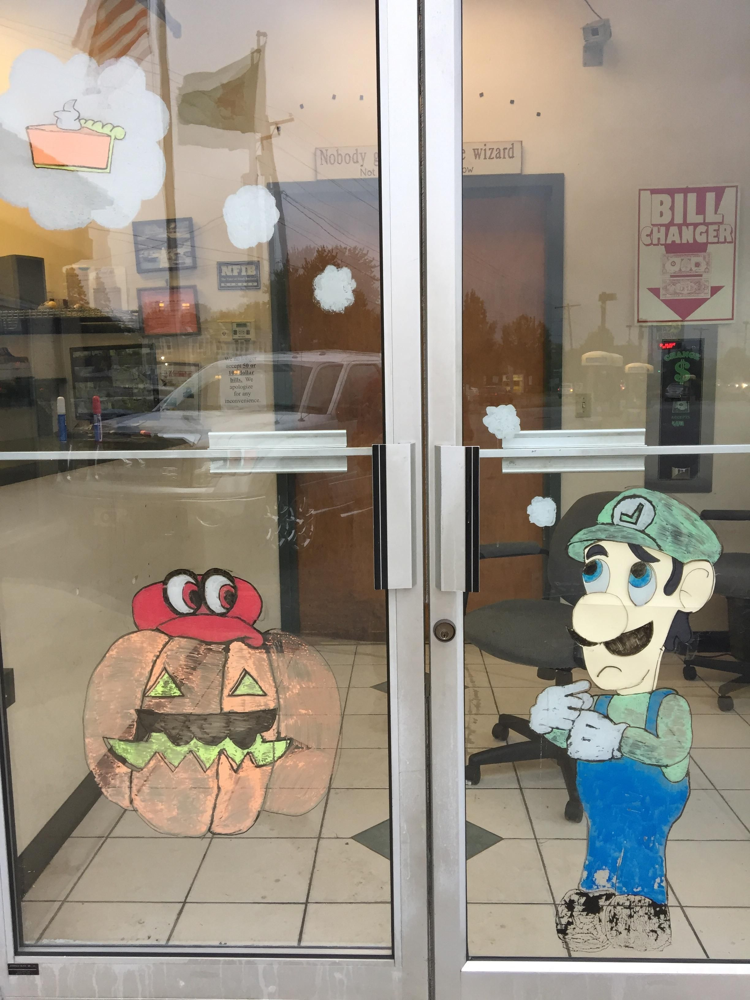 I got to do the window art at work for Halloween. http://bit.ly/2lnzap3 #nintendo