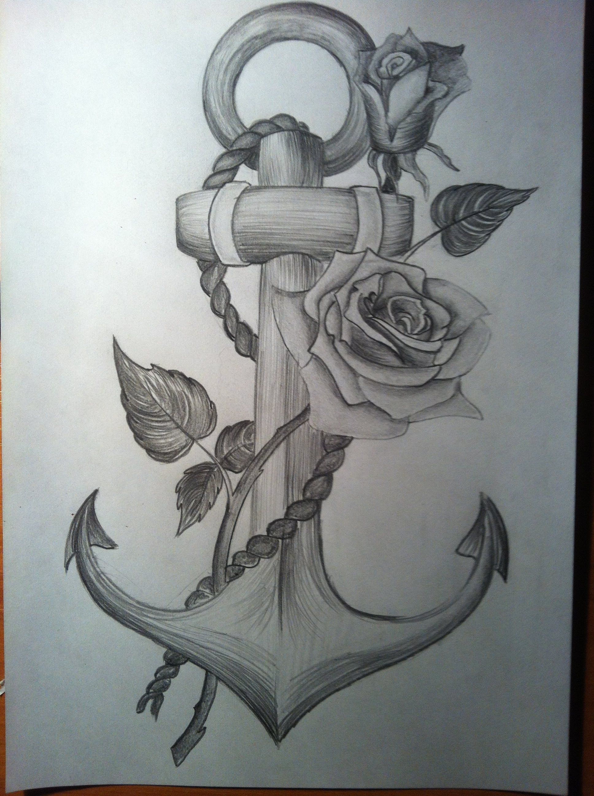 335c01d78 Anchor with a rose time-lapse drawing - YouTube   things to draw ...