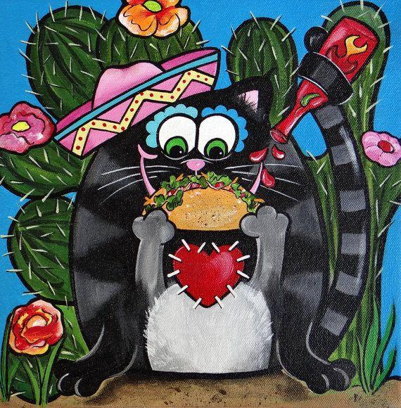 Gato de taco por Melody Smith por UrbanArtByMelody en Etsy