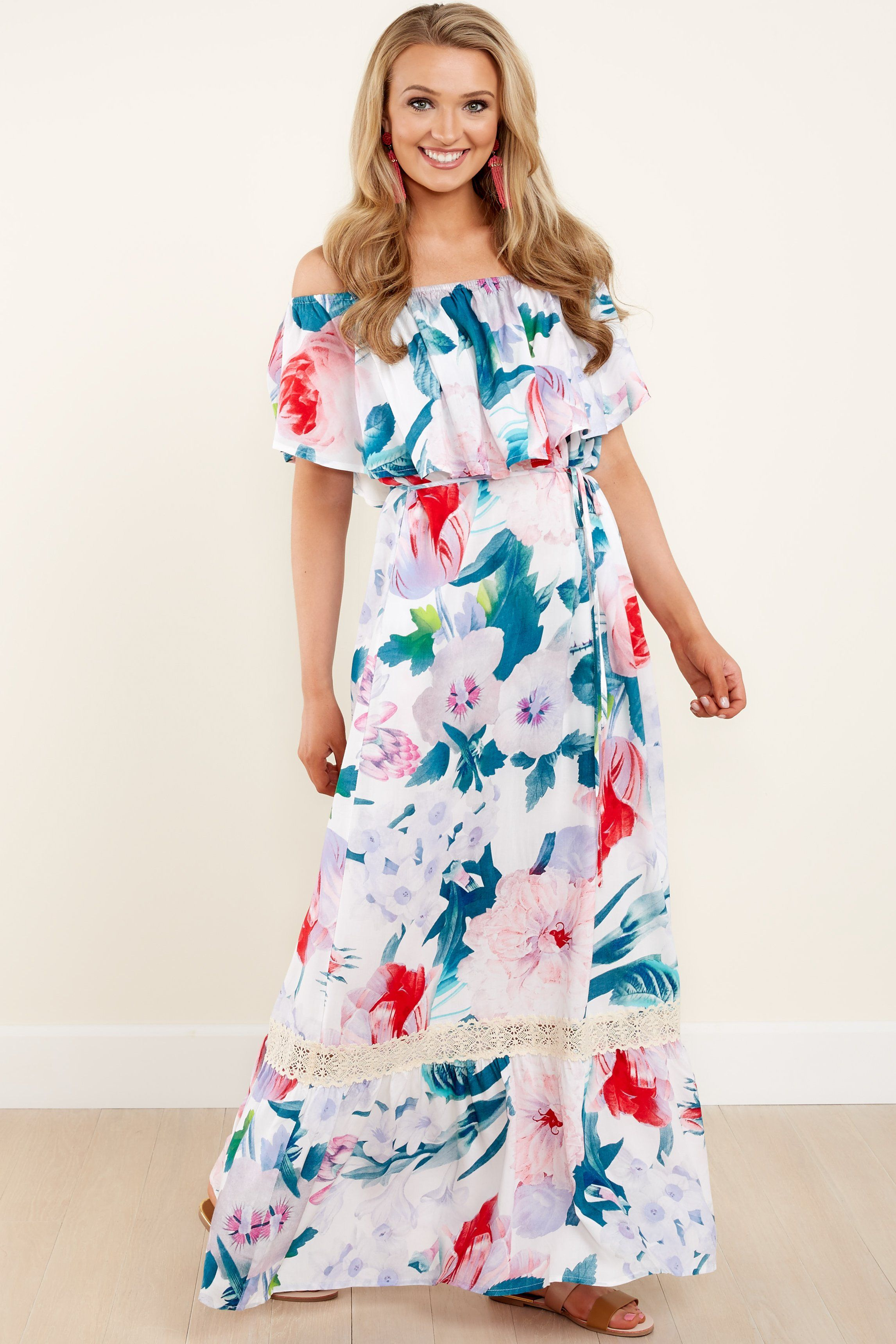 a71285c0808 Pretty Floral Print Dress - Off The Shoulder - Maxi Dress -  42.00 – Red  Dress Boutique