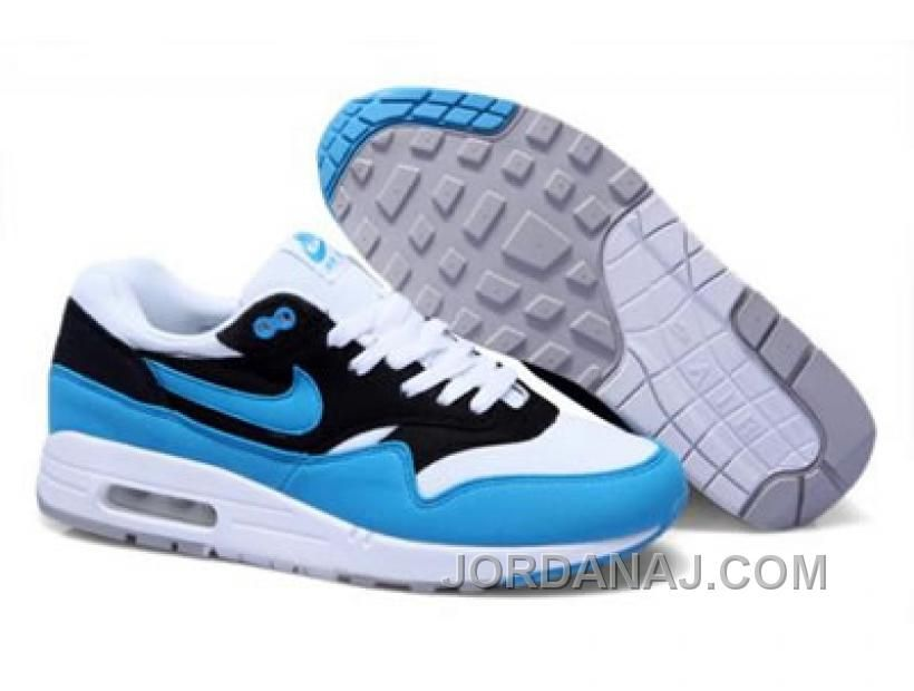 For Wholesale Mens Nike Air Max 1 White Black Blue Glow Sneakers