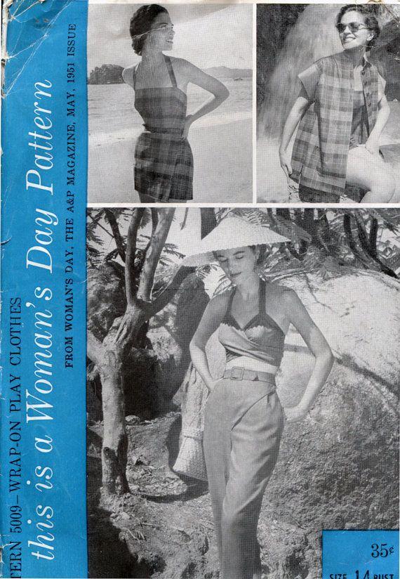 Womans Day 1950s Sewing Pattern Swim Suit Wrap by retromonkeys, $75.00