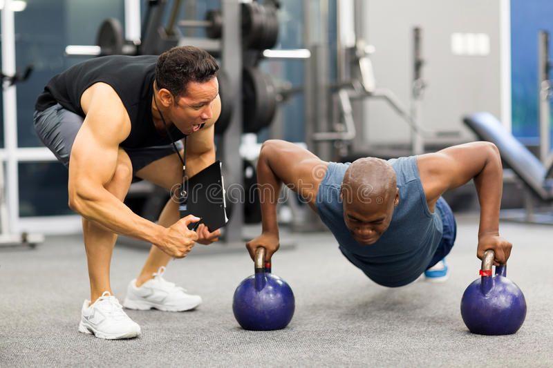 Personal Trainer Motivates Client Doing Push Ups In Gym Ad Motivates Trainer Personal Client Gym Ad Fun Workouts Personal Trainer Workout Plan