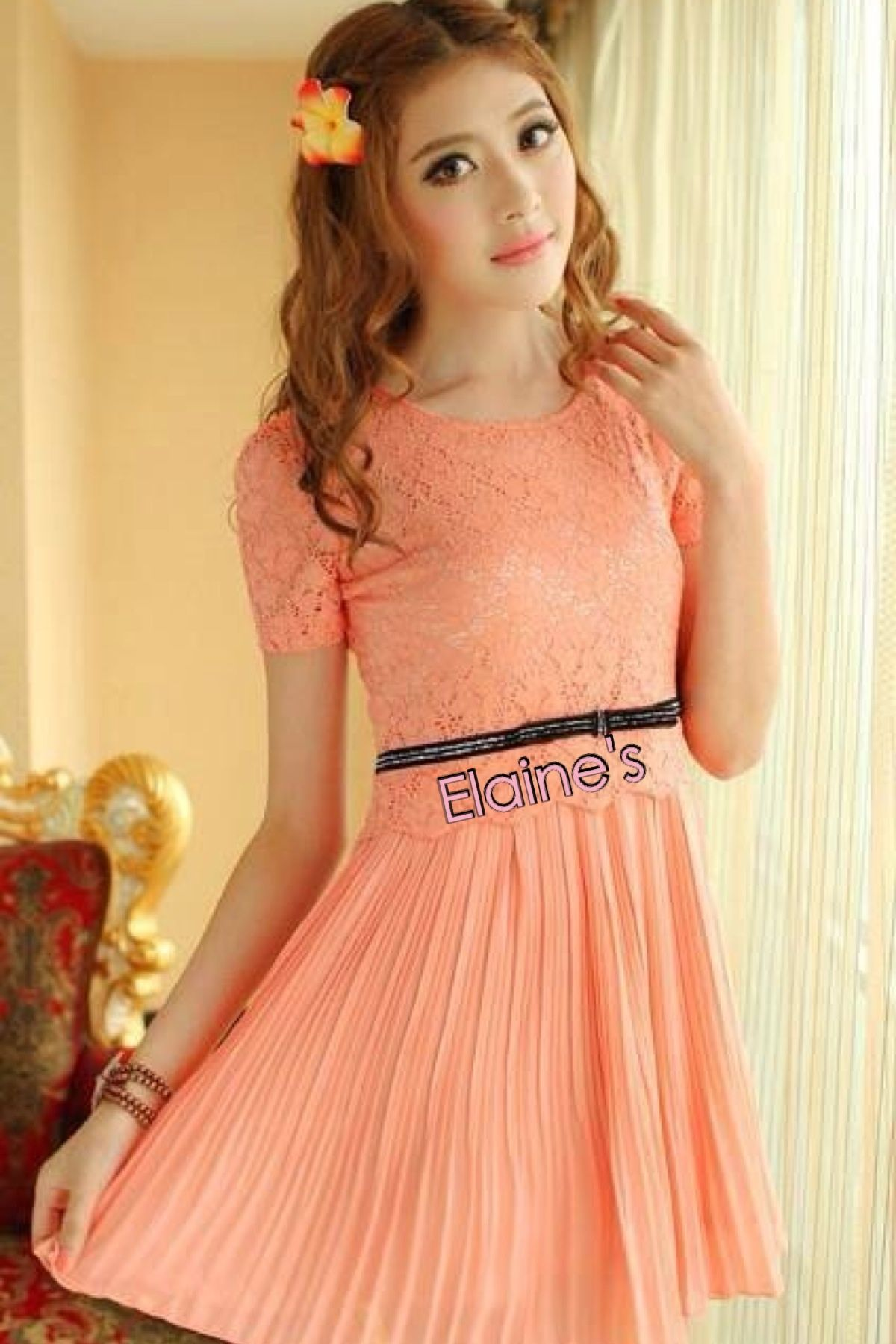 Peach summer dress in upscale new korean temperament of slim plus