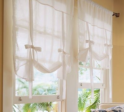 Pottery Barn Ribbon Tie Curtains In Teghans Room