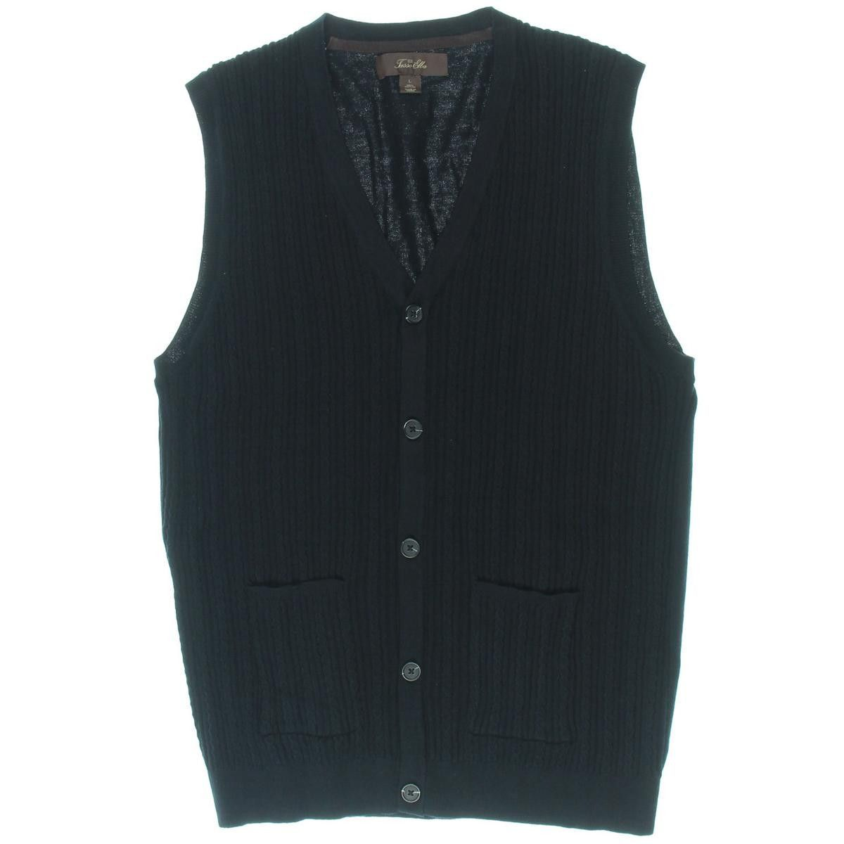 Tasso Elba Mens Button-Down Cable Knit Sweater Vest | Products ...