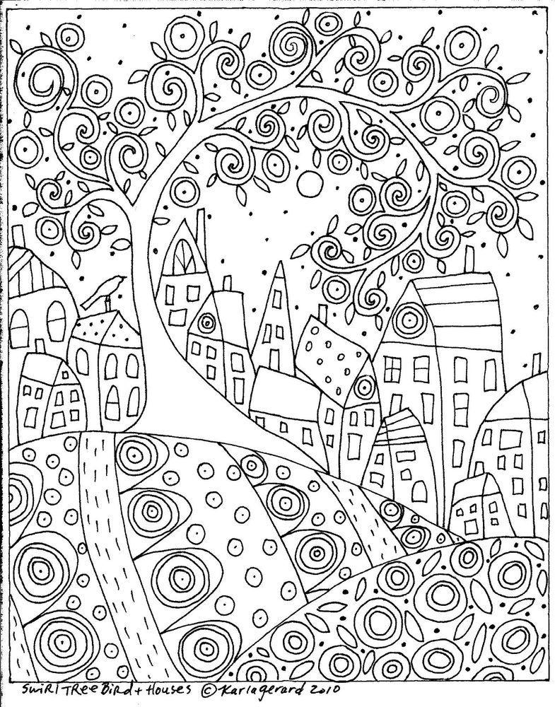 Rug Hook Craft Paper Pattern Swirl Tree Bird And Houses Folk Art Abstract Karlag Libros Para Colorear Alfombra De Enganche Modelo De Papel