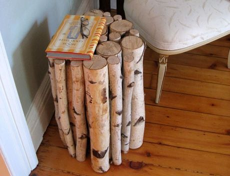 Birch log side table - Interior Design Ideas for Birch Logs and Branches