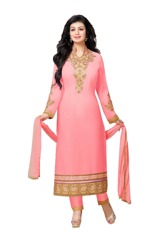 Da facioun indian women designer party wear pink anarkali salwar
