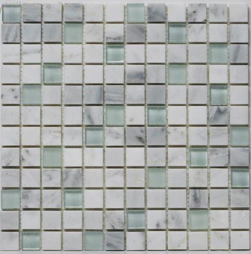 "Statuary White with Glass and Flamed Glass Mosaic 1""x1"" Tiles For Kitchen Bathroom Backsplash, Shower Walls - 10 Tiles per Box - Minimum Ord..."