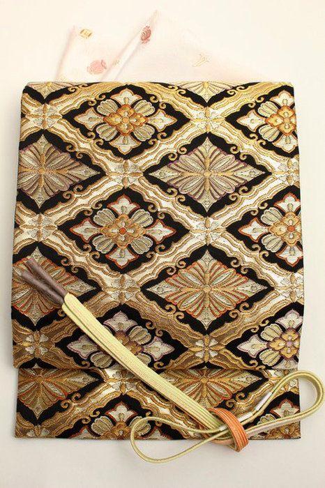 【織匠小平】特選西陣唐織袋帯「松花菱枠文」正絹袋帯黒地