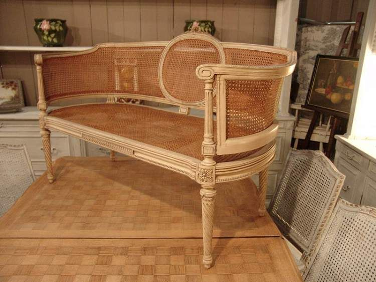 Antique French Louis XVI Cane Sofa with the beautiful patina of original  old paint. $1880 - French Antique Louis XVI Cane Sofa With Old Paint - SOLD - Cane
