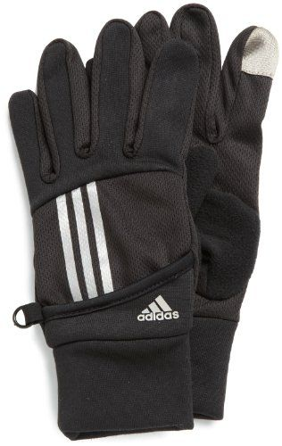 The Elite II running glove features include touch screen compatibility, reflective 3-stripes, screen-printed adidas logo, back of hand key pocket, side clip lock, moisture-wicking, as well as a sonic welded ClimaWarm logo.