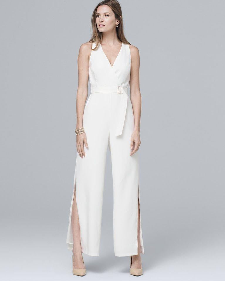 702563bc076 Women s White Crepe Wide-Leg Jumpsuit by White House Black Market ...