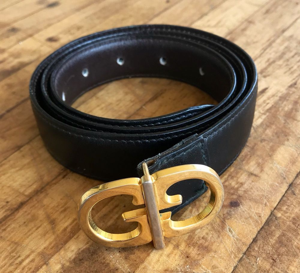 6054aa6d3702 Vintage Gucci Belt Reversible Leather Gold GG Unisex 1980s Fashion Black /  Brown | eBay